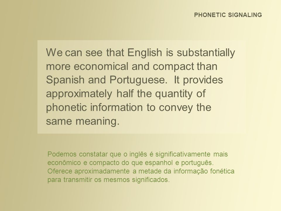 PHONETIC SIGNALING We can see that English is substantially more economical and compact than Spanish and Portuguese. It provides approximately half th