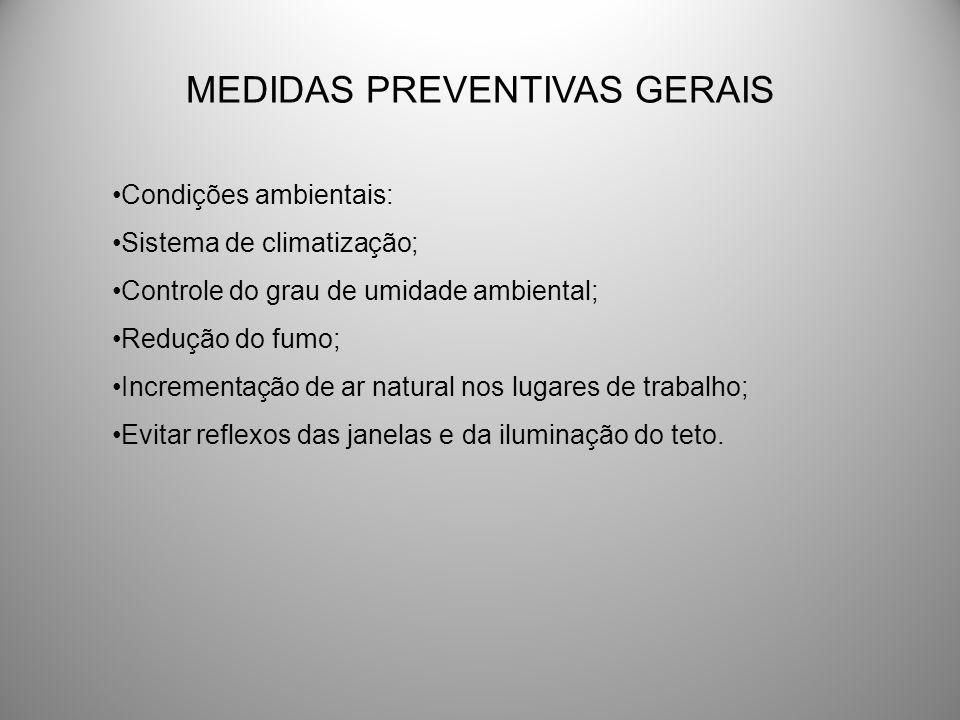 MEDIDAS PREVENTIVAS GERAIS Condições ambientais: Sistema de climatização; Controle do grau de umidade ambiental; Redução do fumo; Incrementação de ar