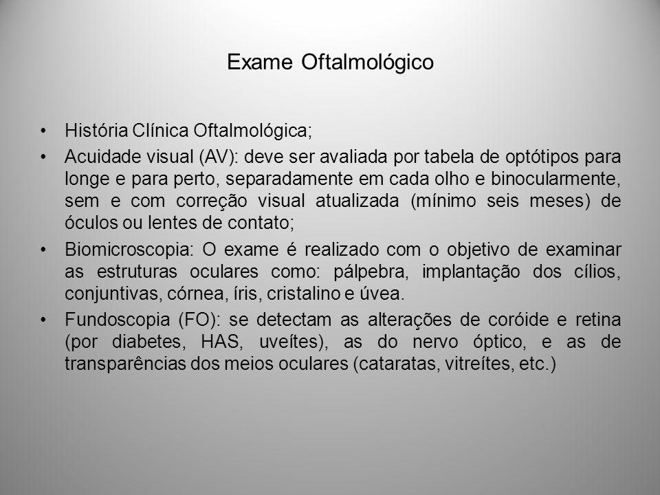Exame Oftalmológico História Clínica Oftalmológica; Acuidade visual (AV): deve ser avaliada por tabela de optótipos para longe e para perto, separadam