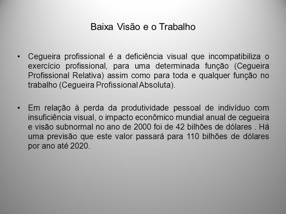 Baixa Visão e o Trabalho Cegueira profissional é a deficiência visual que incompatibiliza o exercício profissional, para uma determinada função (Cegue