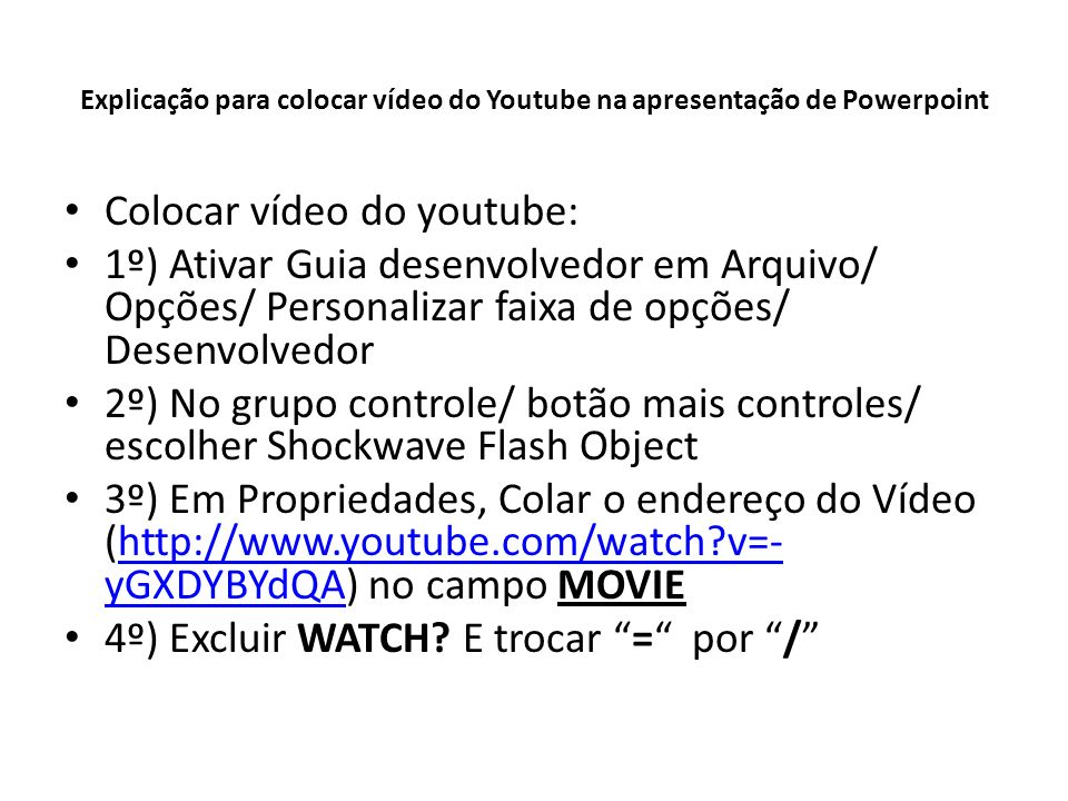 Vídeo do You Tube