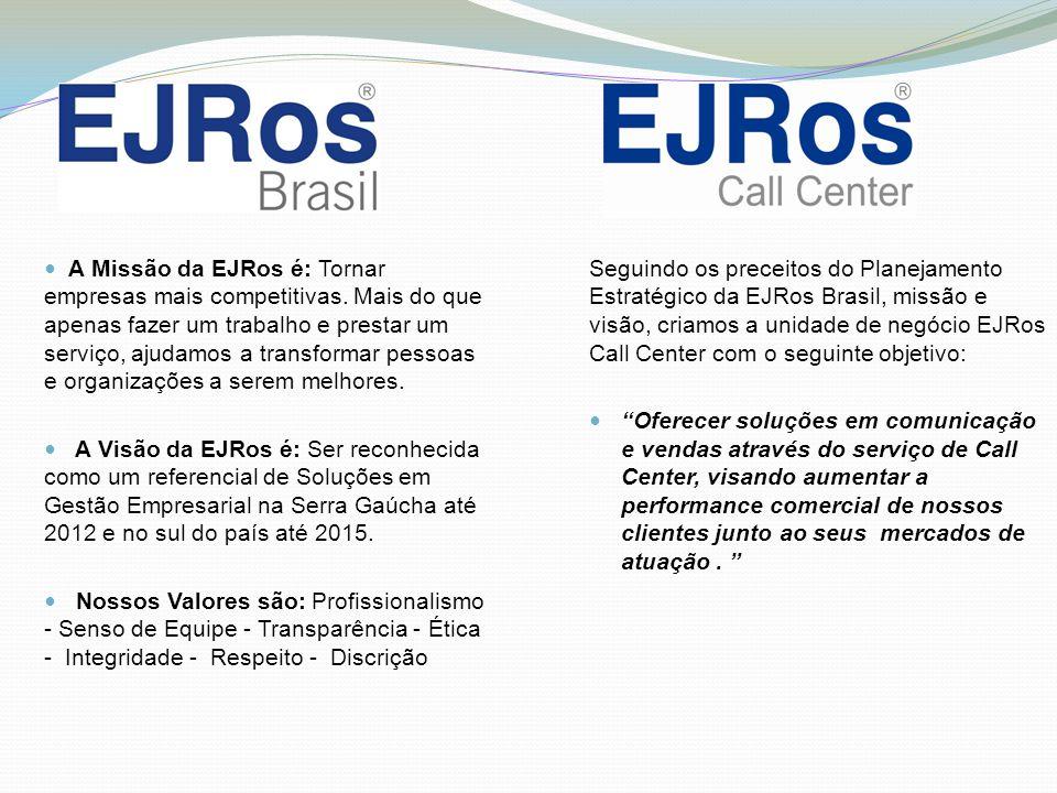 A Missão da EJRos é: Tornar empresas mais competitivas. Mais do que apenas fazer um trabalho e prestar um serviço, ajudamos a transformar pessoas e or