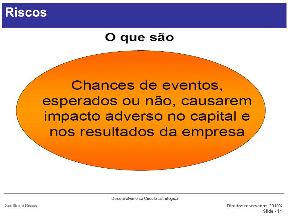 Desenvolvimento Círculo Estratégico Direitos reservados 2010® Slide - 11 Gestão de Riscos Riscos