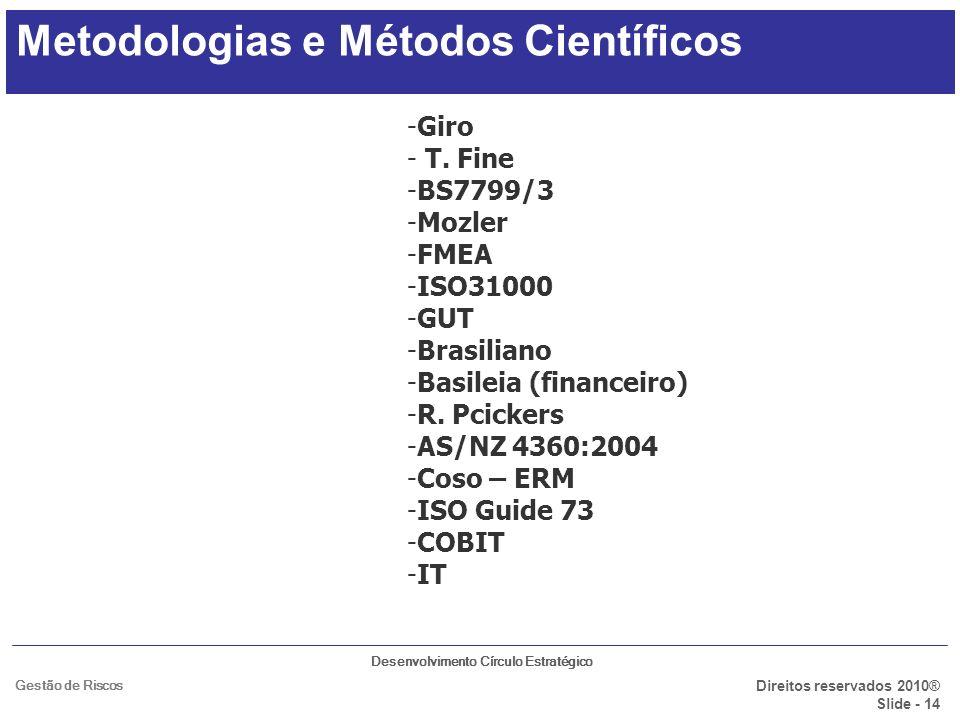 Desenvolvimento Círculo Estratégico Direitos reservados 2010® Slide - 14 Gestão de Riscos Metodologias e Métodos Científicos -Giro - T. Fine -BS7799/3