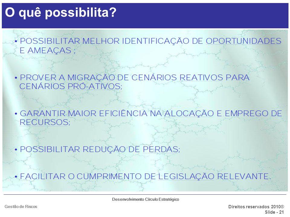 Desenvolvimento Círculo Estratégico Direitos reservados 2010® Slide - 21 Gestão de Riscos O quê possibilita?