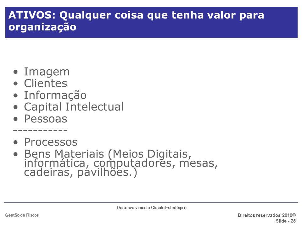 Desenvolvimento Círculo Estratégico Direitos reservados 2010® Slide - 25 Gestão de Riscos ATIVOS: Qualquer coisa que tenha valor para organização Imag