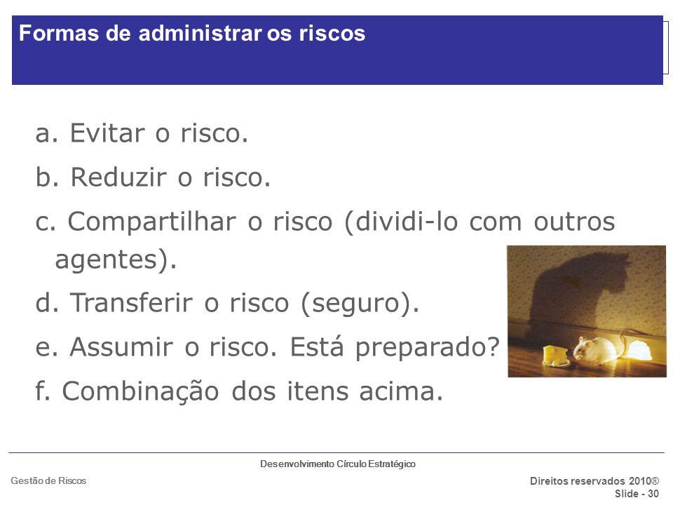 Desenvolvimento Círculo Estratégico Direitos reservados 2010® Slide - 30 Gestão de Riscos ALTERNATIVAS DO GERENCIAMENTO DE RISCO: a. Evitar o risco. b