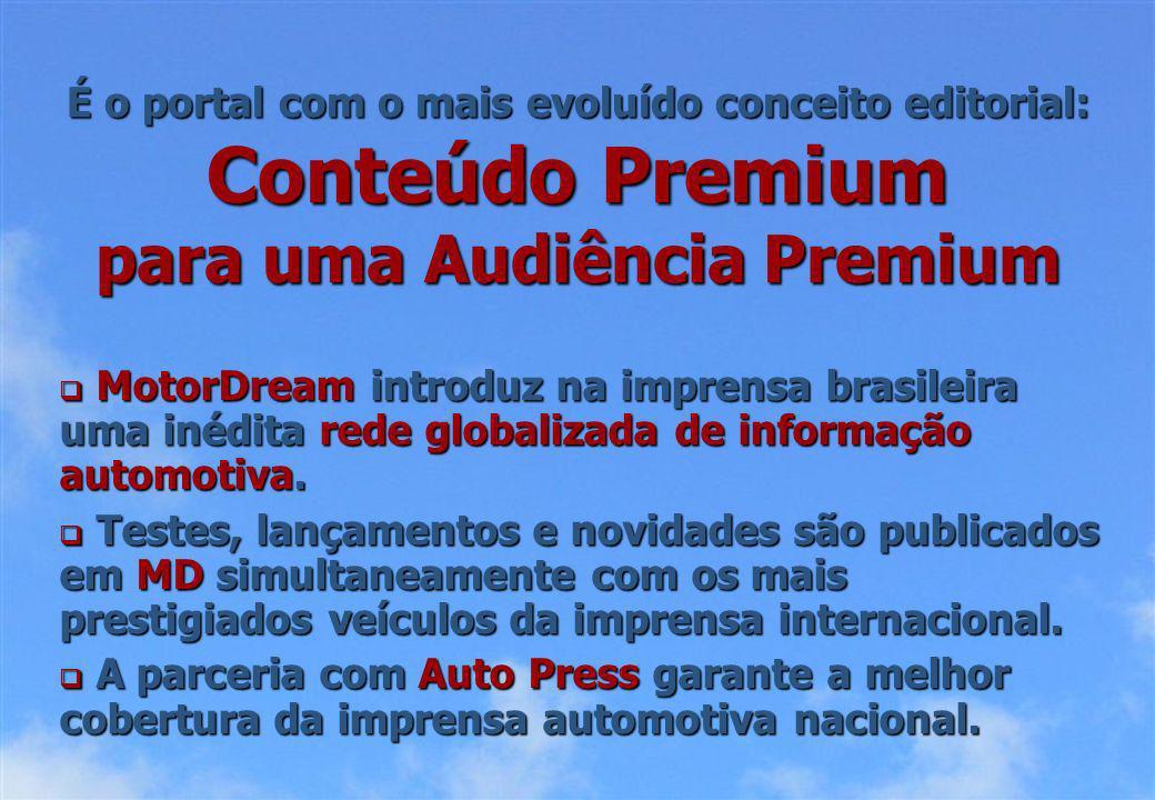 É o portal com o mais evoluído conceito editorial: Conteúdo Premium para uma Audiência Premium MotorDream introduz na imprensa brasileira uma inédita rede globalizada de informação automotiva.