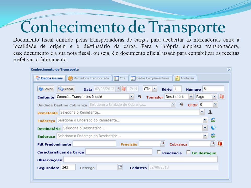 Conhecimento de Transporte Documento fiscal emitido pelas transportadoras de cargas para acobertar as mercadorias entre a localidade de origem e o destinatário da carga.