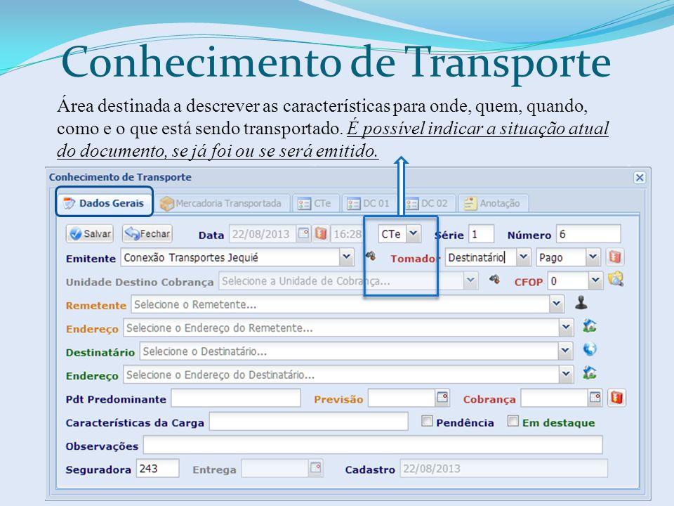 Conhecimento de Transporte Área destinada a descrever as características para onde, quem, quando, como e o que está sendo transportado. É possível ind