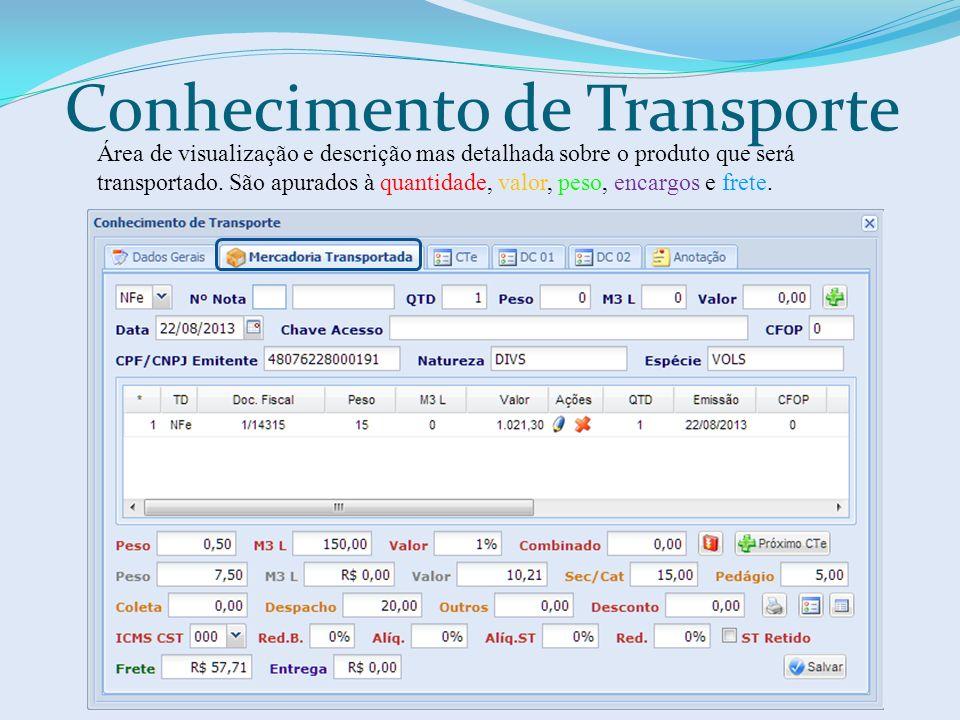 Conhecimento de Transporte Área de visualização e descrição mas detalhada sobre o produto que será transportado. São apurados à quantidade, valor, pes