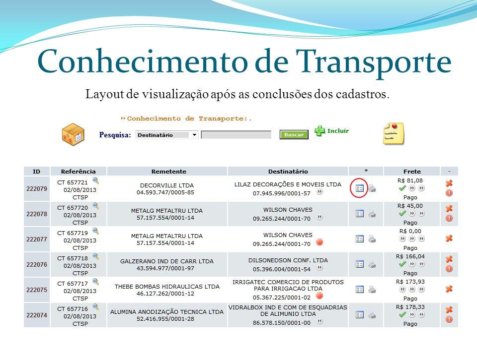 Conhecimento de Transporte Layout de visualização após as conclusões dos cadastros.