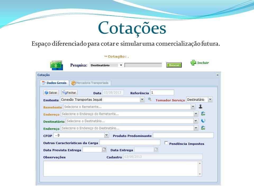 Cotações Espaço diferenciado para cotar e simular uma comercialização futura.