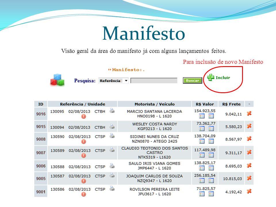 Manifesto Visão geral da área do manifesto já com alguns lançamentos feitos. Para inclusão de novo Manifesto