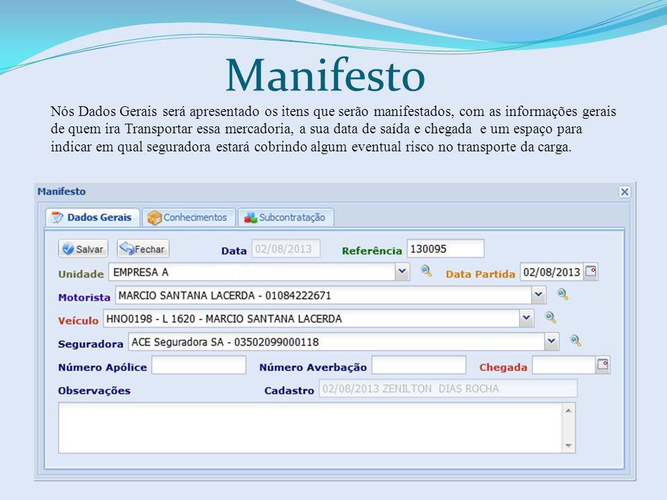 Manifesto Nós Dados Gerais será apresentado os itens que serão manifestados, com as informações gerais de quem ira Transportar essa mercadoria, a sua