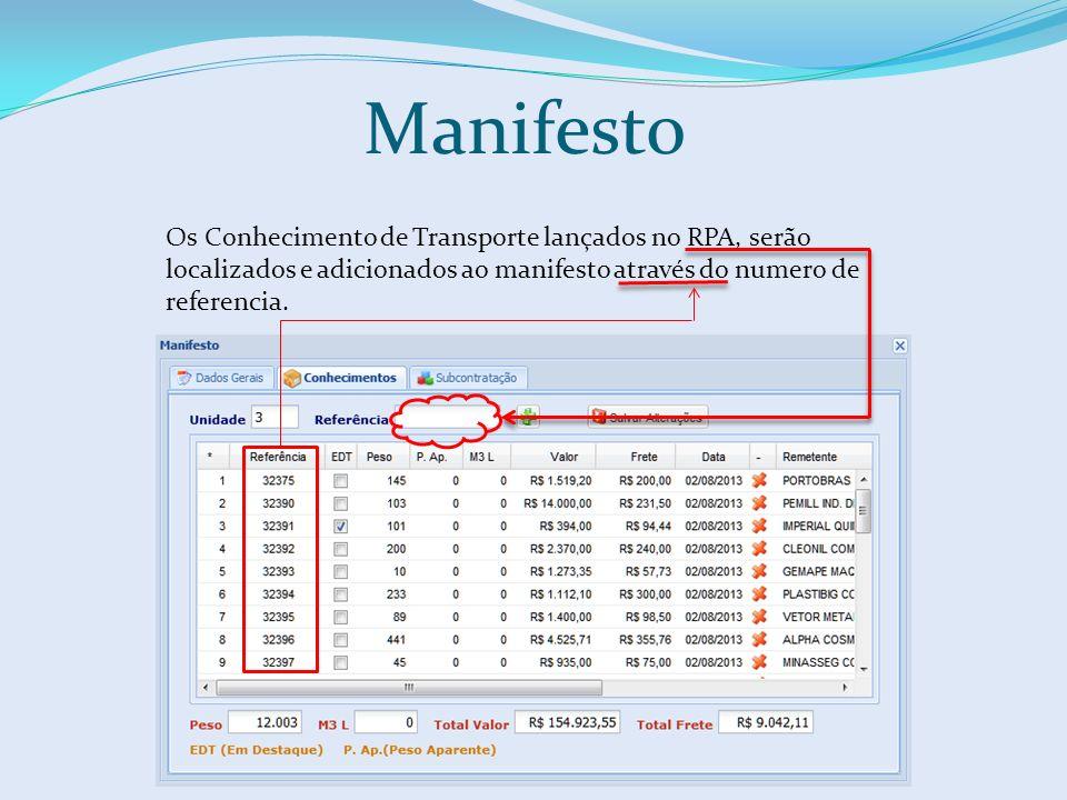 Os Conhecimento de Transporte lançados no RPA, serão localizados e adicionados ao manifesto através do numero de referencia. Manifesto
