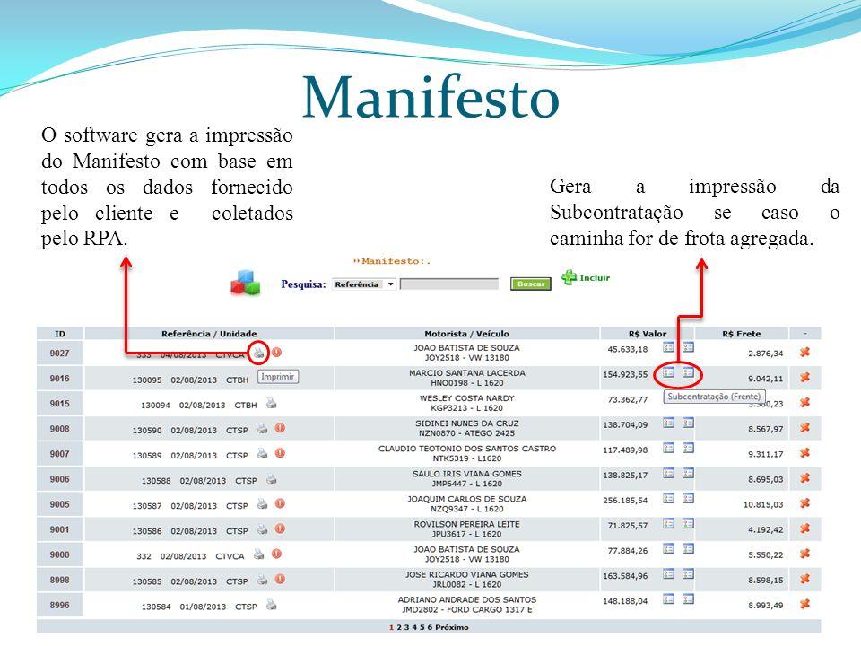 Manifesto O software gera a impressão do Manifesto com base em todos os dados fornecido pelo cliente e coletados pelo RPA. Gera a impressão da Subcont