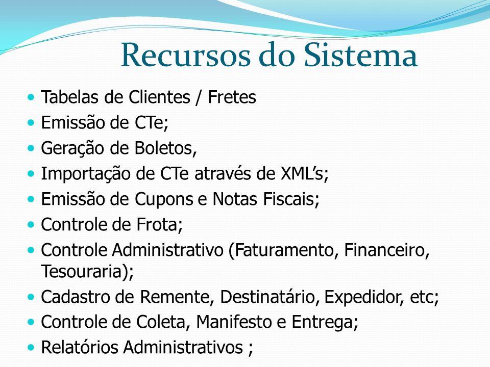 Tabelas de Clientes / Fretes Emissão de CTe; Geração de Boletos, Importação de CTe através de XMLs; Emissão de Cupons e Notas Fiscais; Controle de Frota; Controle Administrativo (Faturamento, Financeiro, Tesouraria); Cadastro de Remente, Destinatário, Expedidor, etc; Controle de Coleta, Manifesto e Entrega; Relatórios Administrativos ; Recursos do Sistema