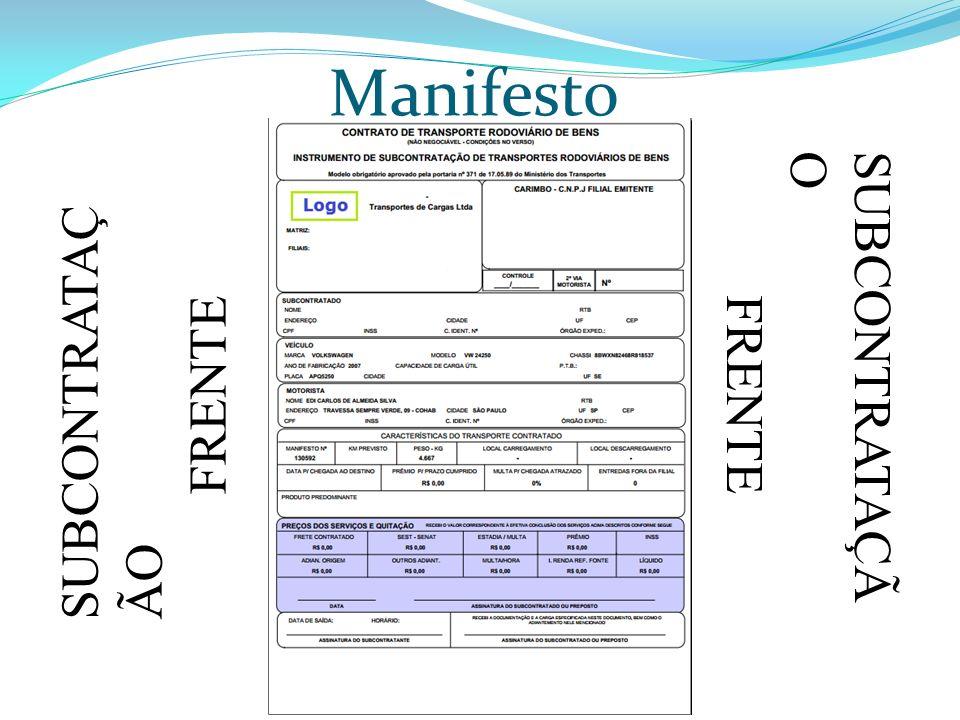 Manifesto SUBCONTRATAÇÃ O FRENTE SUBCONTRATAÇ ÃO FRENTE