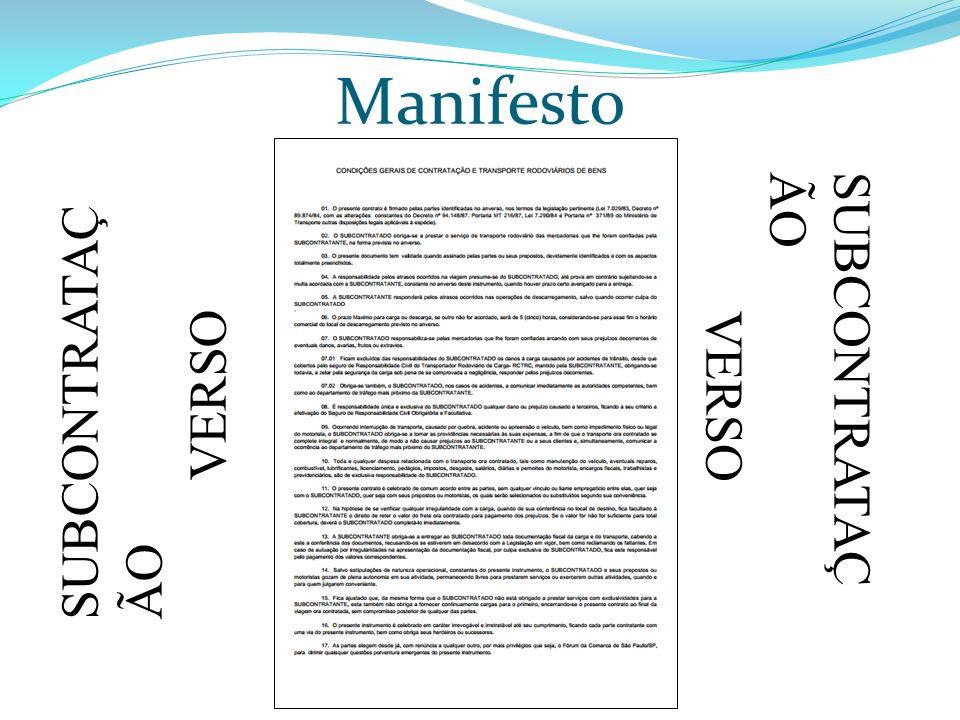 SUBCONTRATAÇ ÃO VERSO SUBCONTRATAÇ ÃO VERSO Manifesto