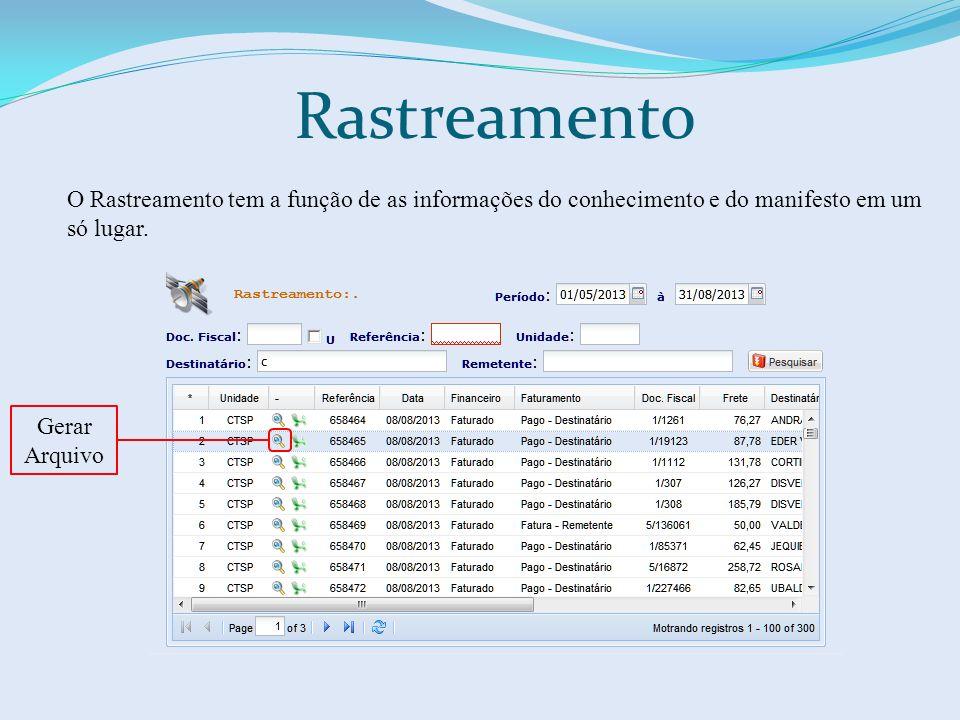 Rastreamento O Rastreamento tem a função de as informações do conhecimento e do manifesto em um só lugar. Gerar Arquivo