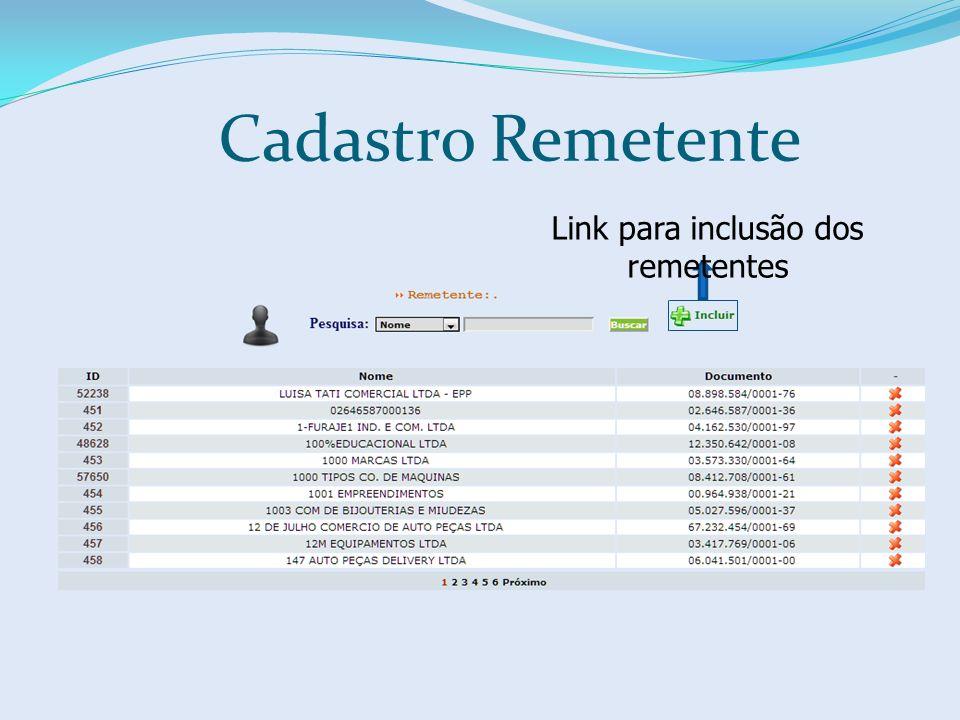 Link para inclusão dos remetentes Cadastro Remetente