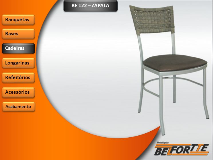 BE 904 – SAN LUIZ Banquetas Bases Cadeiras Longarinas Refeitórios Acessórios Acabamento