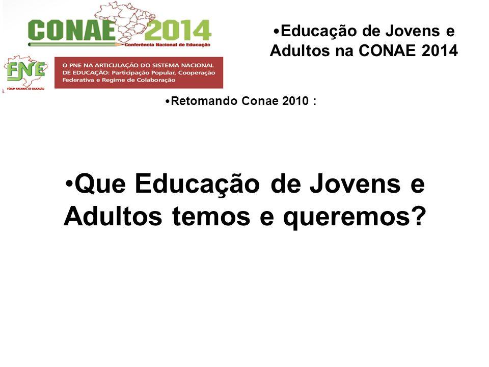 Educação de Jovens e Adultos na CONAE 2014 Retomando Conae 2010 : Que Educação de Jovens e Adultos temos e queremos?
