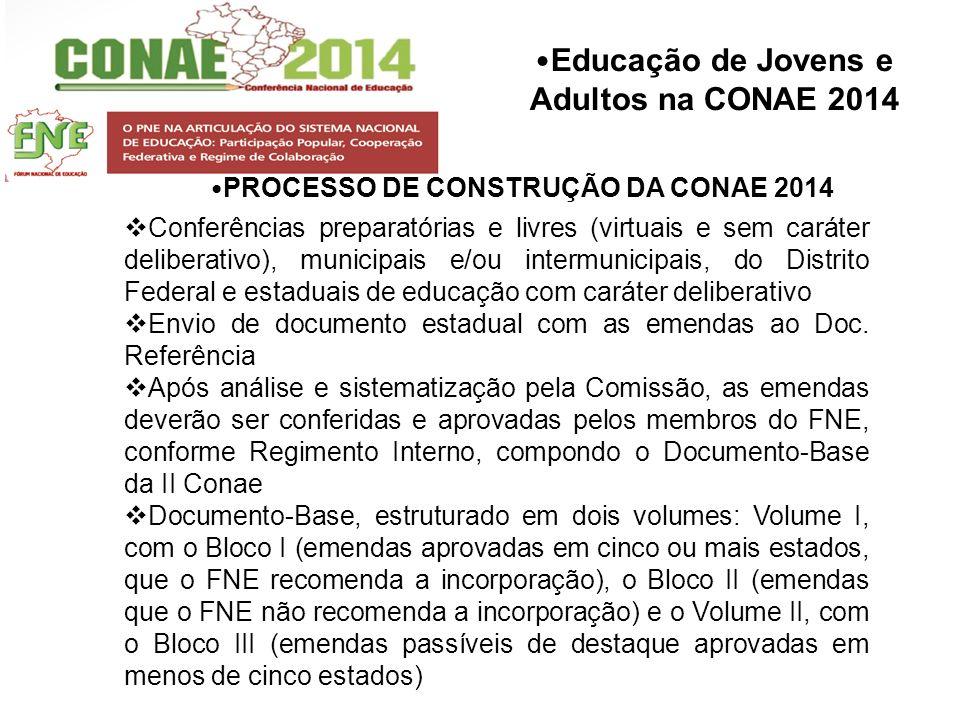 Educação de Jovens e Adultos na CONAE 2014 PROCESSO DE CONSTRUÇÃO DA CONAE 2014 Conferências preparatórias e livres (virtuais e sem caráter deliberati