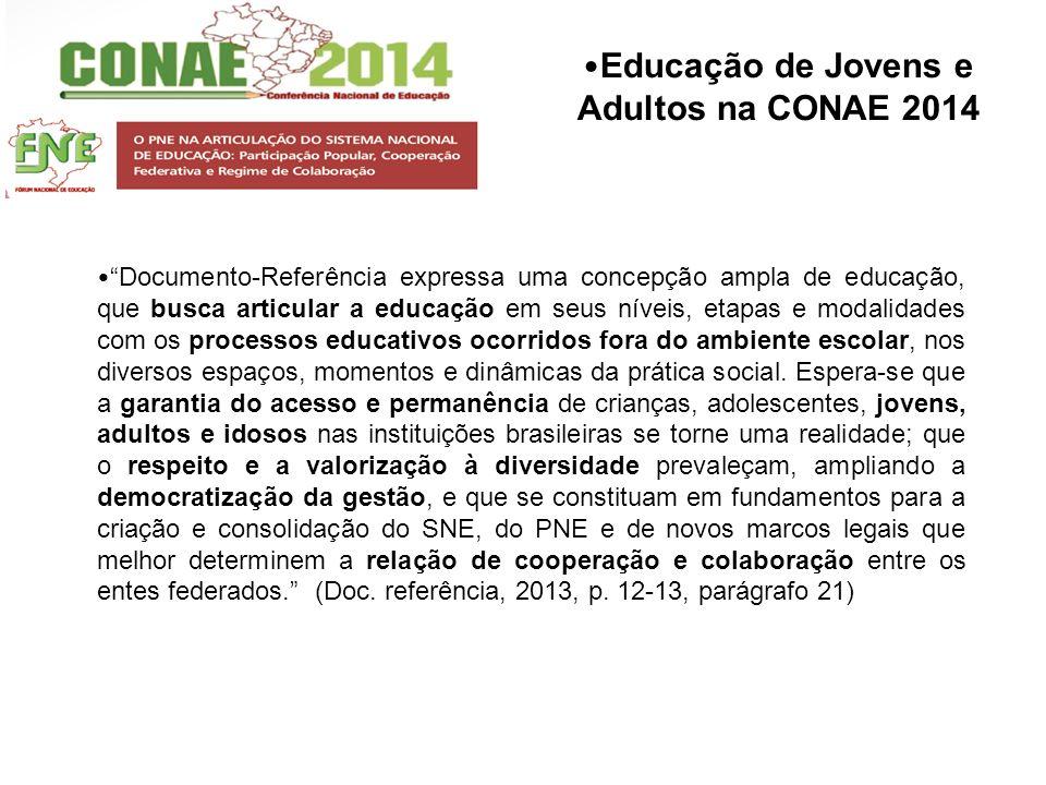 Educação de Jovens e Adultos na CONAE 2014 Documento-Referência expressa uma concepção ampla de educação, que busca articular a educação em seus nívei