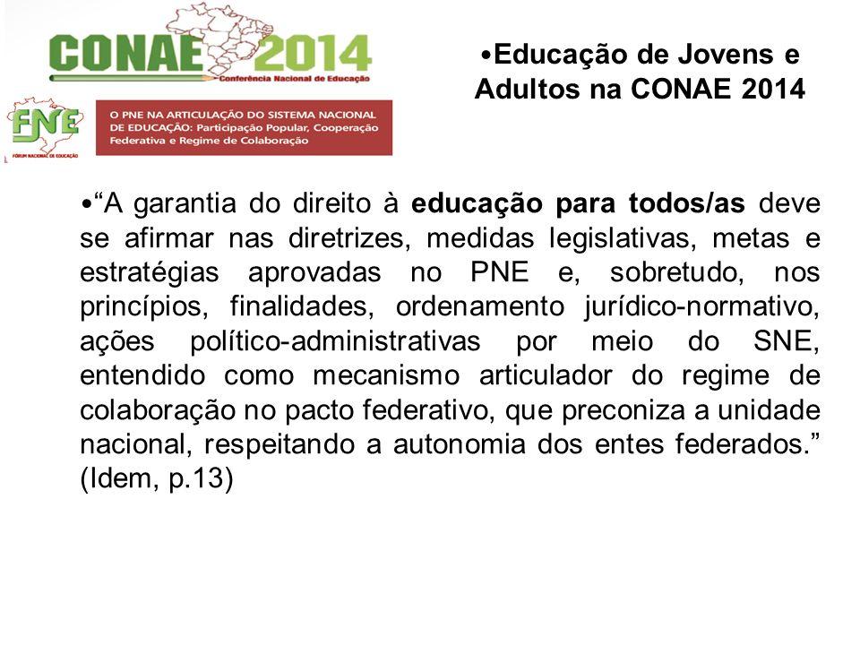 Educação de Jovens e Adultos na CONAE 2014 A garantia do direito à educação para todos/as deve se afirmar nas diretrizes, medidas legislativas, metas