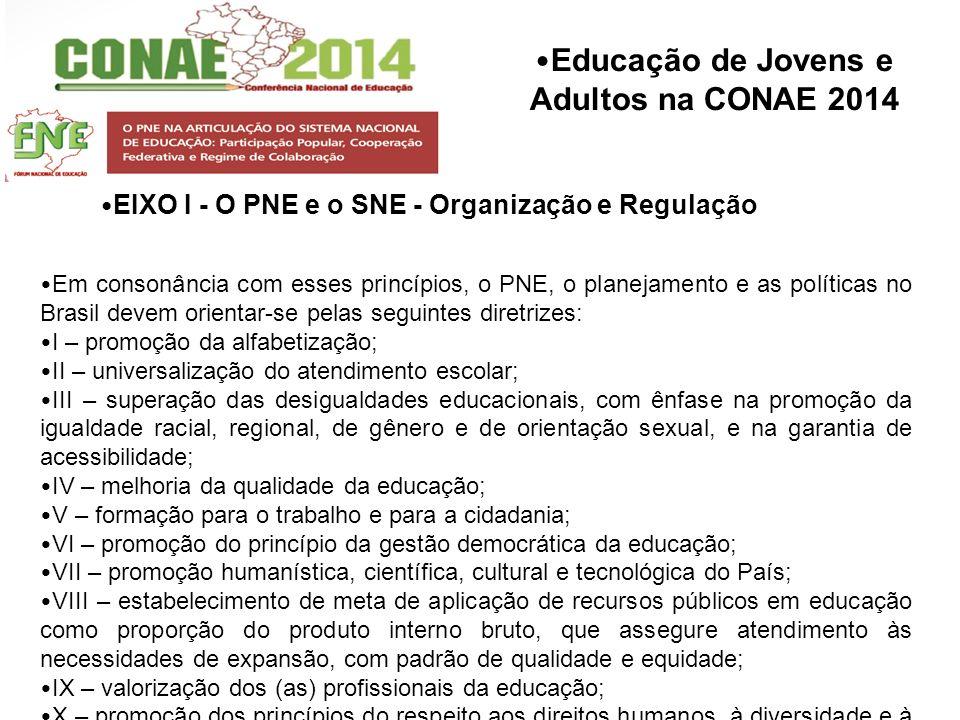 Educação de Jovens e Adultos na CONAE 2014 Em consonância com esses princípios, o PNE, o planejamento e as políticas no Brasil devem orientar-se pelas