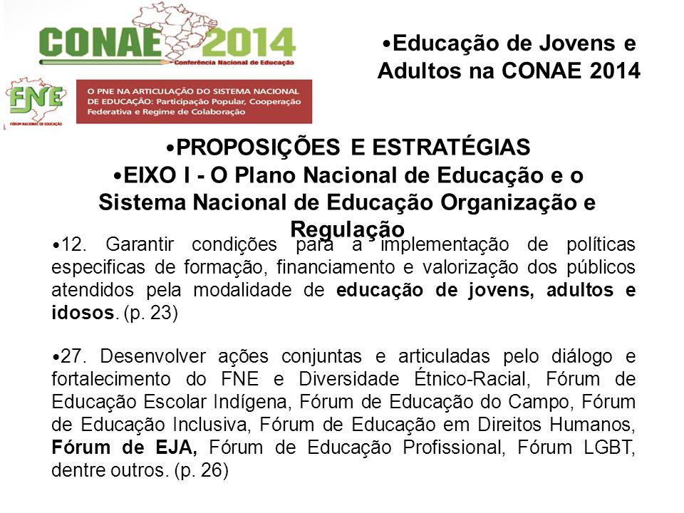 Educação de Jovens e Adultos na CONAE 2014 PROPOSIÇÕES E ESTRATÉGIAS EIXO I - O Plano Nacional de Educação e o Sistema Nacional de Educação Organizaçã