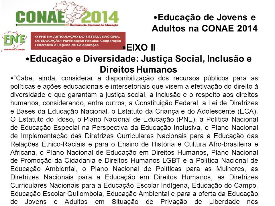 Educação de Jovens e Adultos na CONAE 2014 EIXO II Educação e Diversidade: Justiça Social, Inclusão e Direitos Humanos Cabe, ainda, considerar a dispo