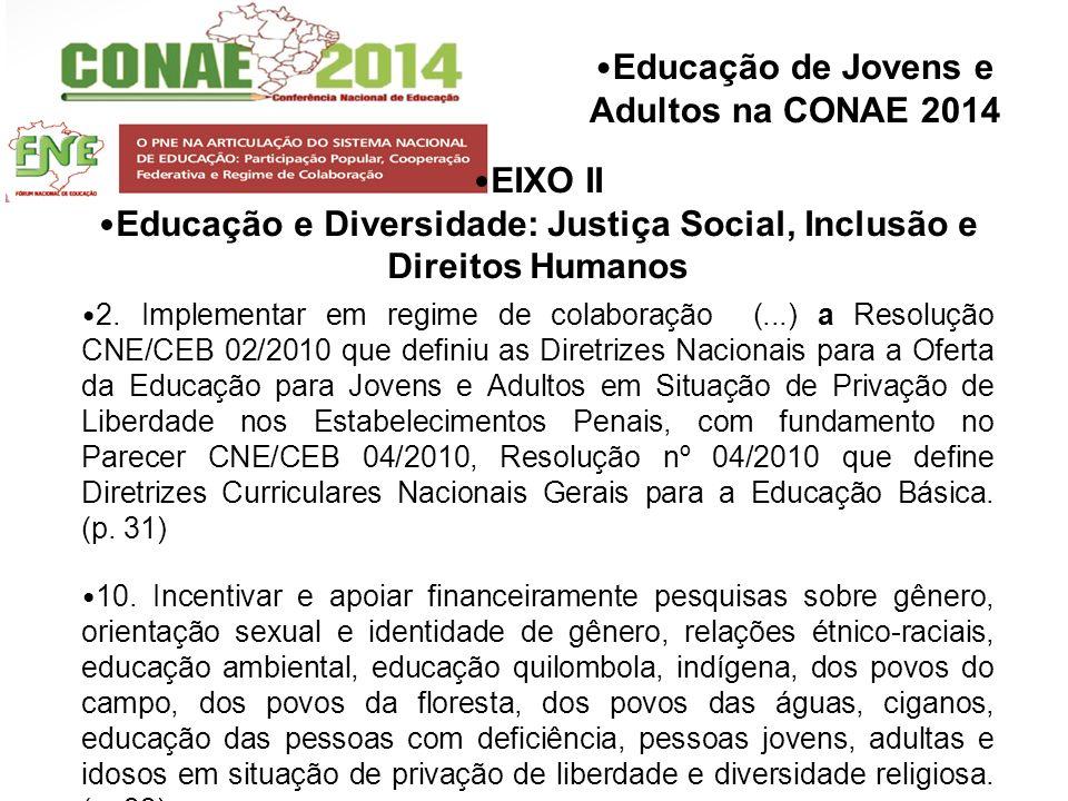 Educação de Jovens e Adultos na CONAE 2014 EIXO II Educação e Diversidade: Justiça Social, Inclusão e Direitos Humanos 2. Implementar em regime de col