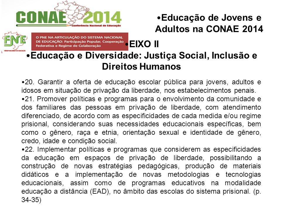 Educação de Jovens e Adultos na CONAE 2014 EIXO II Educação e Diversidade: Justiça Social, Inclusão e Direitos Humanos 20. Garantir a oferta de educaç