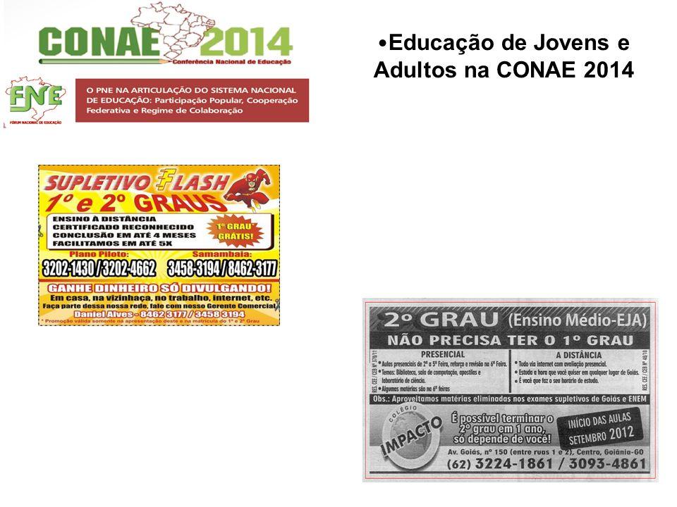 Educação de Jovens e Adultos na CONAE 2014 EIXO IV Qualidade da Educação: Democratização do Acesso, Permanência, Avaliação, Condições de Participação e Aprendizagem 1.3.