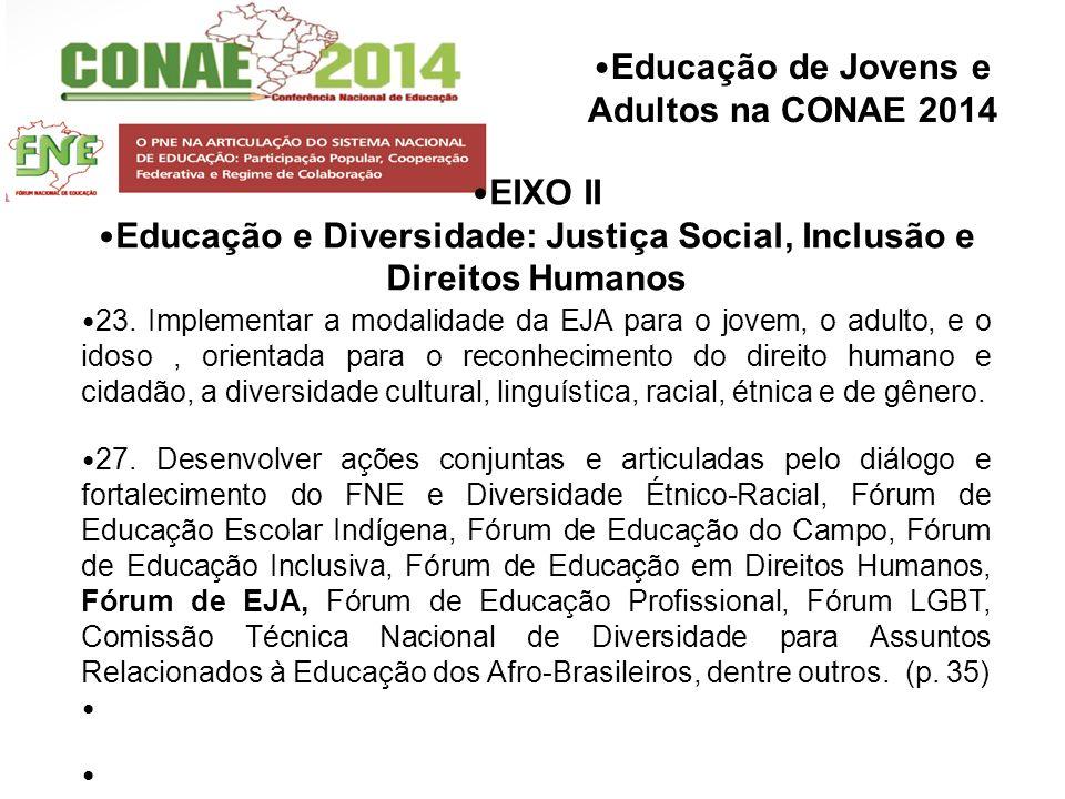 Educação de Jovens e Adultos na CONAE 2014 EIXO II Educação e Diversidade: Justiça Social, Inclusão e Direitos Humanos 23. Implementar a modalidade da