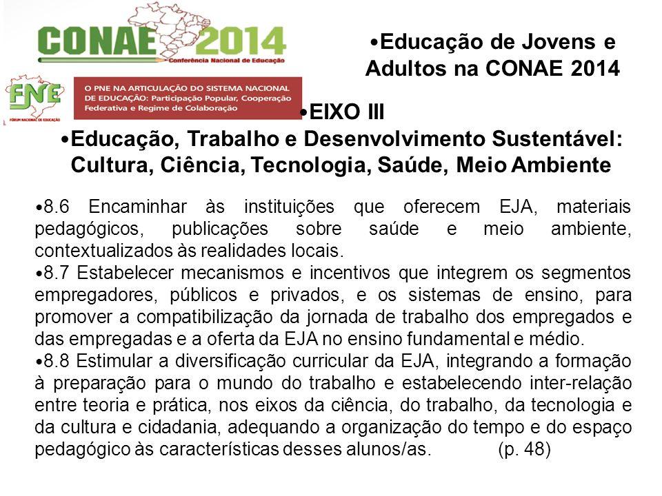 Educação de Jovens e Adultos na CONAE 2014 8.6 Encaminhar às instituições que oferecem EJA, materiais pedagógicos, publicações sobre saúde e meio ambi