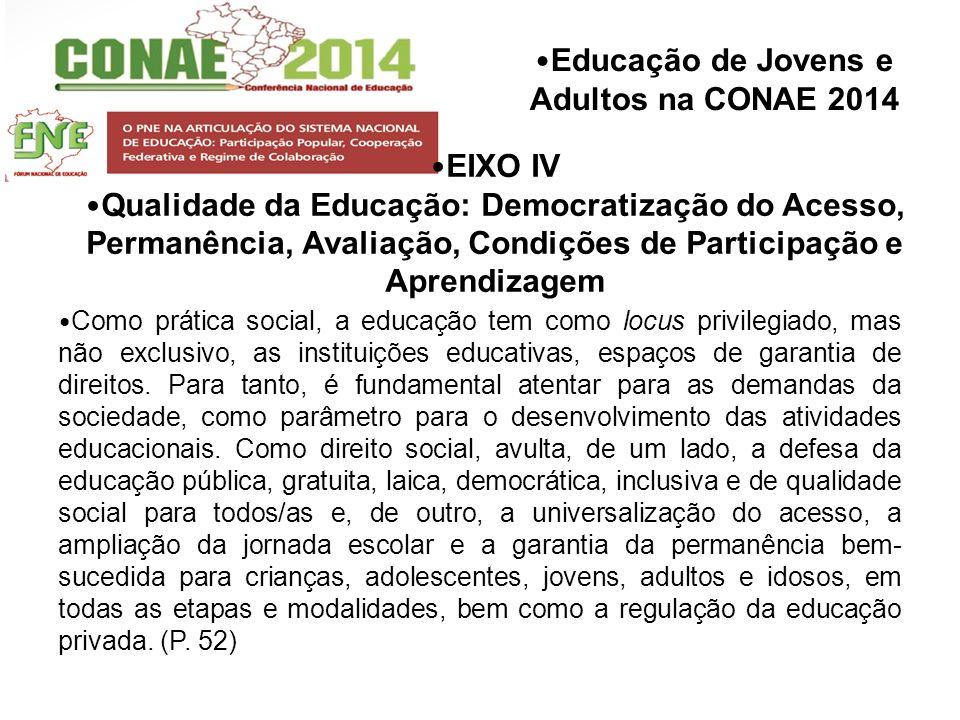 Educação de Jovens e Adultos na CONAE 2014 EIXO IV Qualidade da Educação: Democratização do Acesso, Permanência, Avaliação, Condições de Participação