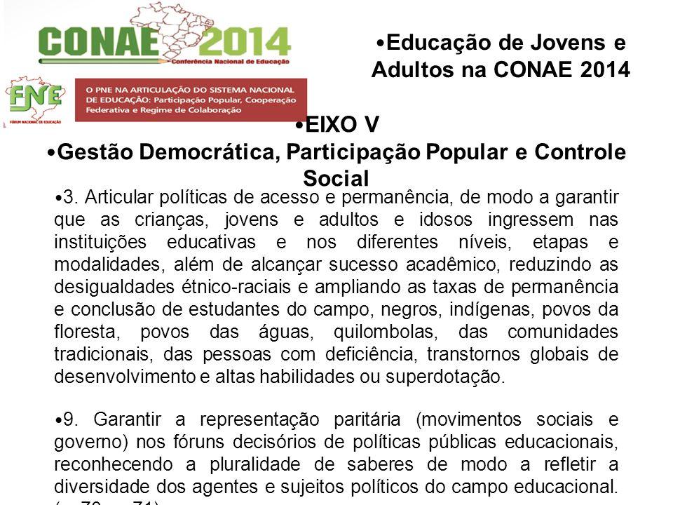 Educação de Jovens e Adultos na CONAE 2014 EIXO V Gestão Democrática, Participação Popular e Controle Social 3. Articular políticas de acesso e perman