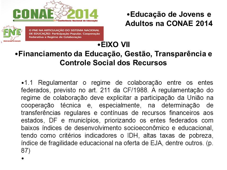 Educação de Jovens e Adultos na CONAE 2014 EIXO VII Financiamento da Educação, Gestão, Transparência e Controle Social dos Recursos 1.1 Regulamentar o