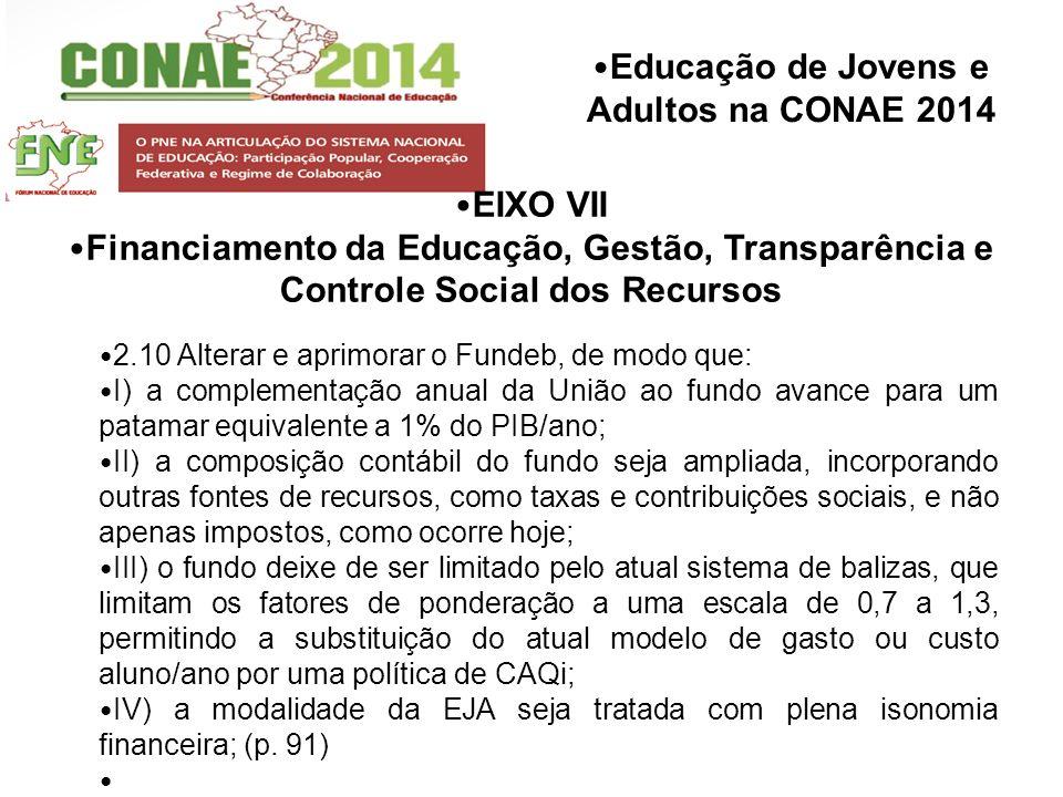Educação de Jovens e Adultos na CONAE 2014 EIXO VII Financiamento da Educação, Gestão, Transparência e Controle Social dos Recursos 2.10 Alterar e apr