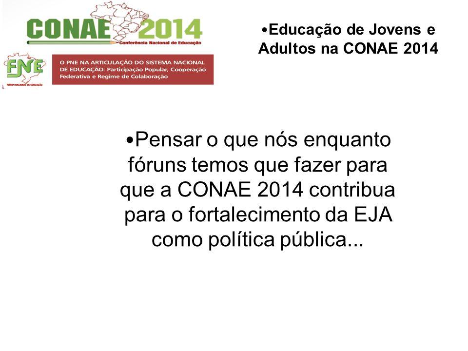 Educação de Jovens e Adultos na CONAE 2014 Pensar o que nós enquanto fóruns temos que fazer para que a CONAE 2014 contribua para o fortalecimento da E