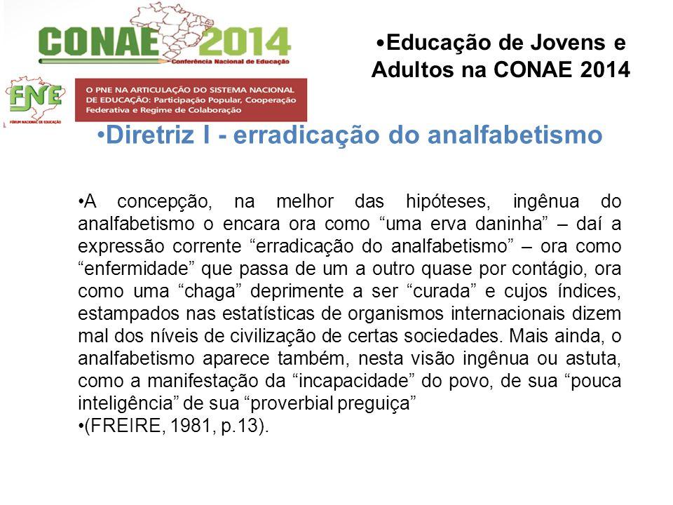 Educação de Jovens e Adultos na CONAE 2014 Diretriz I - erradicação do analfabetismo A concepção, na melhor das hipóteses, ingênua do analfabetismo o