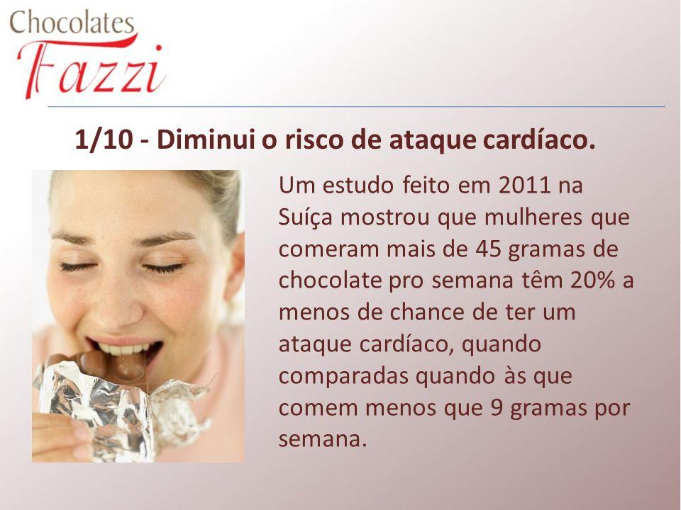1/10 - Diminui o risco de ataque cardíaco. Um estudo feito em 2011 na Suíça mostrou que mulheres que comeram mais de 45 gramas de chocolate pro semana