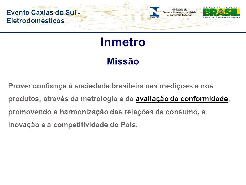 Inmetro Missão Prover confiança à sociedade brasileira nas medições e nos produtos, através da metrologia e da avaliação da conformidade, promovendo a harmonização das relações de consumo, a inovação e a competitividade do País.