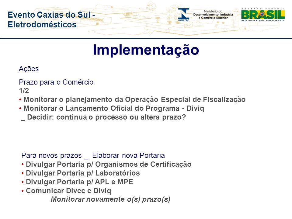 Evento Caxias do Sul - Eletrodomésticos Ações Prazo para o setor produtivo Final Informar: * Número de Fornecedores * Número de Fornecedores com confo