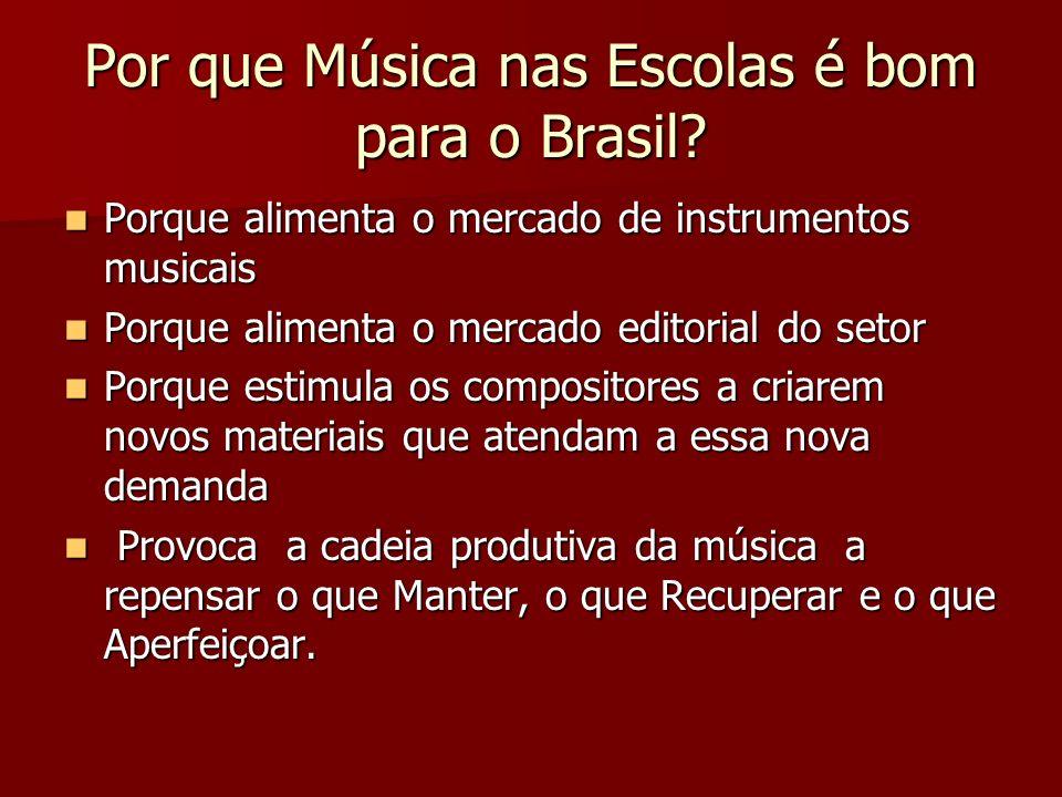 Por que Música nas Escolas é bom para o Brasil? Porque alimenta o mercado de instrumentos musicais Porque alimenta o mercado de instrumentos musicais
