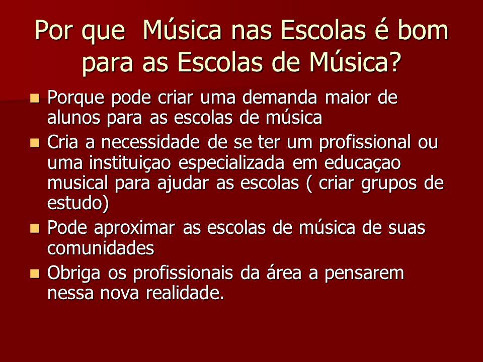 Por que Música nas Escolas é bom para as Escolas de Música? Porque pode criar uma demanda maior de alunos para as escolas de música Porque pode criar